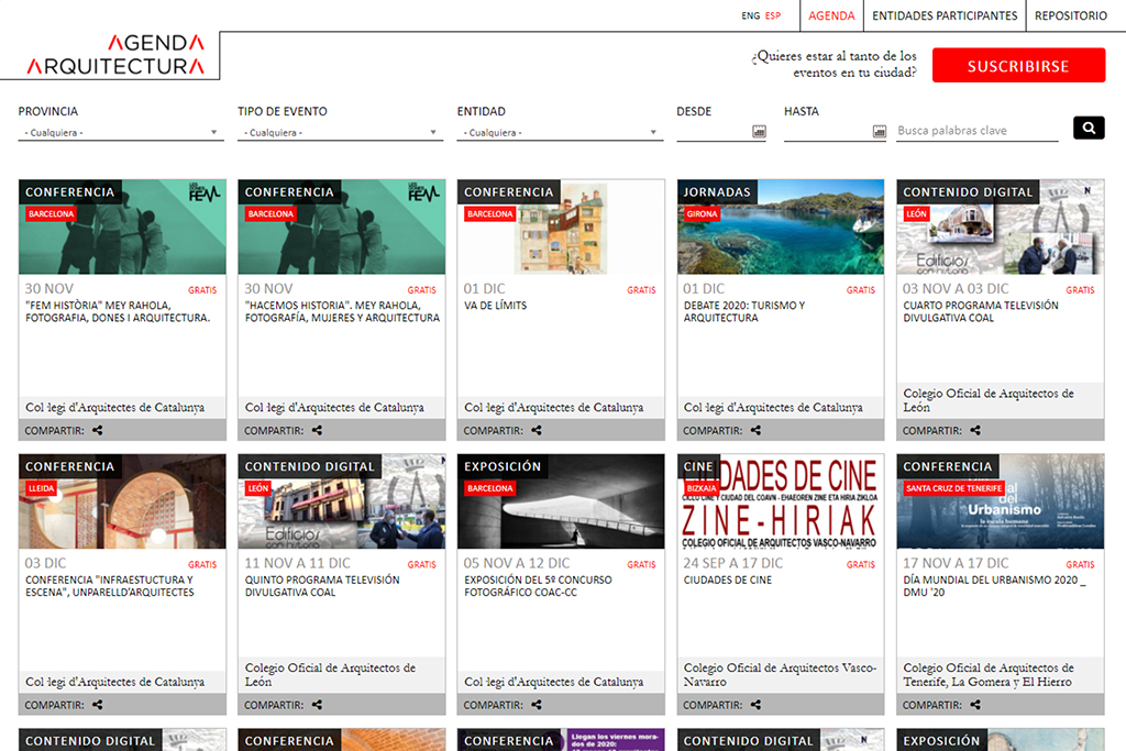 Captura de la plataforma web Agenda Arquitectura