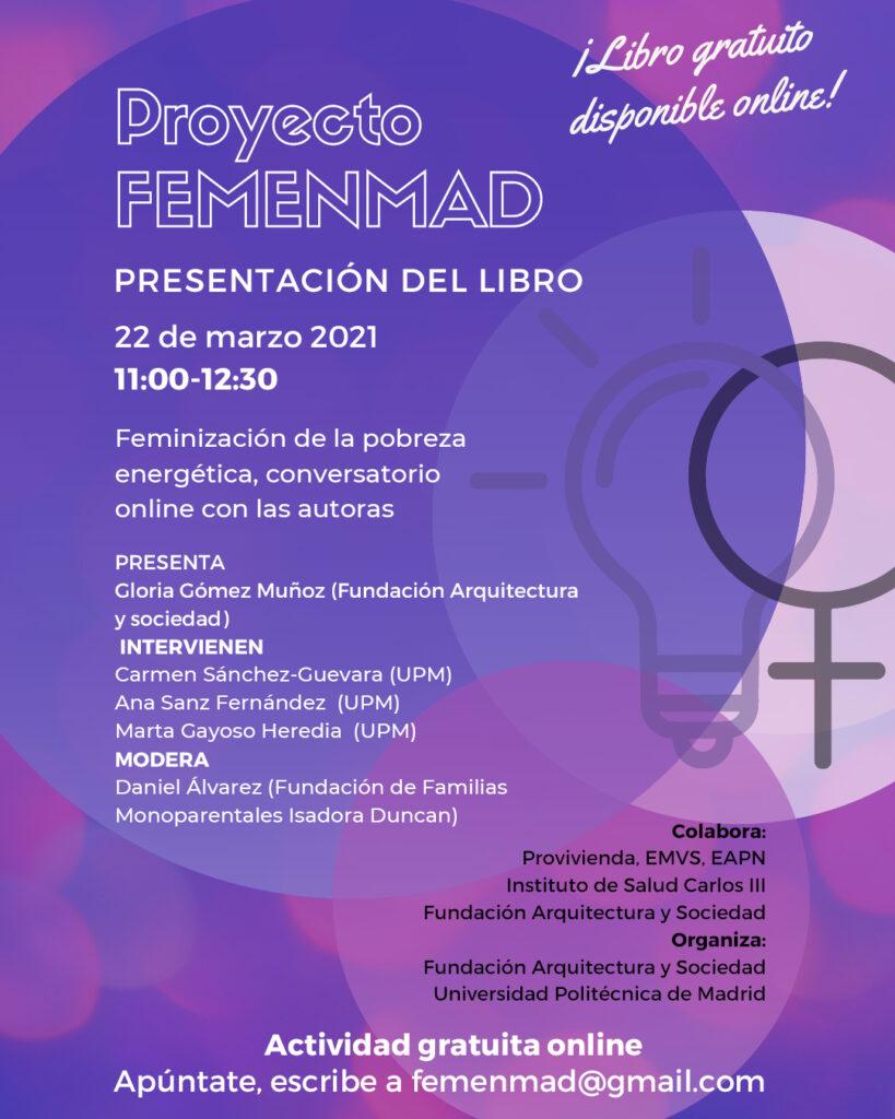 Cartel completo de la presentación del libro del Proyecto FEMENMAD el 22 de marzo de 2021